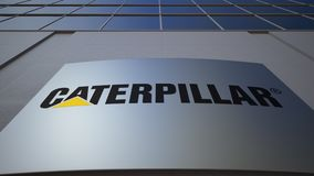 Outdoor signage board with Caterpillar Inc. logo. Modern office building. Editorial 3D rendering. Outdoor signage board with Caterpillar Inc. logo. Modern office stock video footage