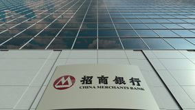 Signage board with China Merchants Bank logo. Modern office building facade time lapse. Editorial 3D rendering