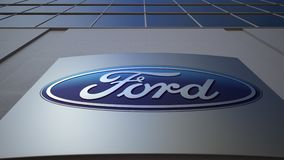 Outdoor signage board with Ford Motor Company logo. Modern office building. Editorial 3D rendering