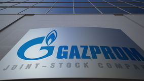 Outdoor signage board with Gazprom logo. Modern office building. Editorial 3D rendering Stock Image