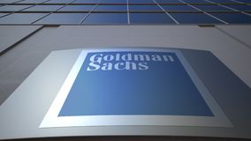 Outdoor signage board with The Goldman Sachs Group, Inc. logo. Modern office building. Editorial 3D rendering. Outdoor signage board with The Goldman Sachs Group stock footage