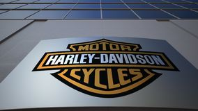 Outdoor signage board with Harley-Davidson, Inc. logo. Modern office building. Editorial 3D rendering. Outdoor signage board with Harley-Davidson, Inc. logo stock video