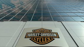 Signage board with Harley-Davidson, Inc. logo. Modern office building facade time lapse. Editorial 3D rendering. Outdoor signage board with Harley-Davidson, Inc stock video