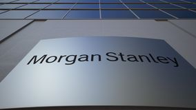Outdoor signage board with Morgan Stanley Inc. logo. Modern office building. Editorial 3D rendering. Outdoor signage board with Morgan Stanley Inc. logo. Modern stock video footage