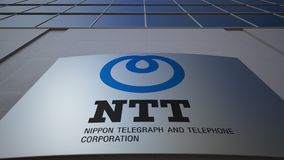 Outdoor signage board with Nippon Telegraph and Telephone Corporation NTT logo. Modern office building. Editorial 3D. Rendering stock video