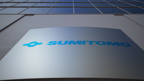 Outdoor signage board with Sumitomo Corporation logo. Modern office building. Editorial 3D rendering. Outdoor signage board with Sumitomo Corporation logo Royalty Free Stock Photography