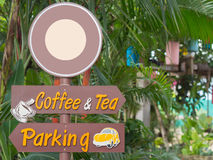 Outdoor Signs, coffee and tea Signs, Parking Signs. Stock Photography