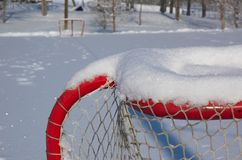Outdoor skating rink. Covered in deep snow royalty free stock photography