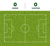 Outdoor Soccer line, game score display and green grass field background. For the mockup Royalty Free Stock Photo