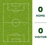 Outdoor Soccer line, game score display and green grass field background. For the mockup Stock Photos
