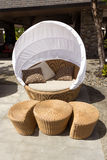 Outdoor sofa chair with cover Stock Photos