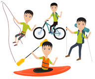 Outdoor sport and active lifestyles. Man traveler with backpack riding a bike on mountain, climbing on a cliff, goes hiking, rafting and kayaking sport. Vector Stock Photography