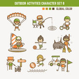 Outdoor sport character set. Outdoor sport and activities character set Royalty Free Stock Image