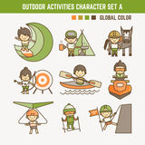 Outdoor sport character set. Outdoor sport and activities character set Royalty Free Stock Photos