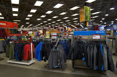 Outdoor sport clothing store. Lots of winter outdoor sport clothing in Sports Authority store near Seattle Royalty Free Stock Images
