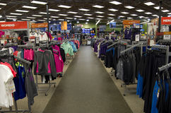 Outdoor sport clothing store. Lots of winter outdoor sport clothing in Sports Authority store near Seattle Stock Photography