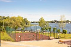 Outdoor sports facility in the Natalka park of Kiev in Ukraine. Kiev/Ukraine - August 23, 2018 - Outdoor sports facility in the Natalka park of Kiev in Ukraine royalty free stock photo