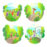 Outdoor sports. Football, running, basketball and cycling. Active Life Fitness. Exercise Stock Photos