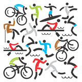 Outdoor sports icons background. Decorative Background with  colorful icons with outdoor sport activities. Vector illustration Royalty Free Stock Image