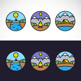 Outdoor Sports Landscape Nature Logo Template Set Royalty Free Stock Photography