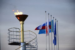 Outdoor Sports Olympiad. Torch ignition on holiday Stock Image