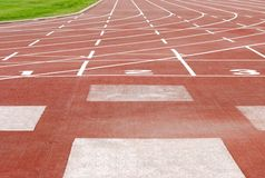 Outdoor sports track focus on numbers Stock Images