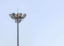 Outdoor stadium floodlight pole Royalty Free Stock Photography