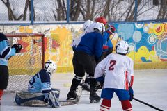 Outdoor stadium-Winter Classic ice hockey game . royalty free stock image
