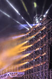 Outdoor stage for concert. Light beam in concert stage Stock Photo