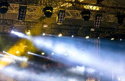 Lights of projectors, professional lightning equipment on stage royalty free stock photos