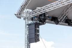 Outdoor stage with spotlight and sound equipment Royalty Free Stock Images