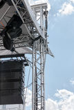 Outdoor stage with spotlight system and sound equipment Stock Image