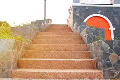 Outdoor staircase, cemented upstairs, royalty free stock photography