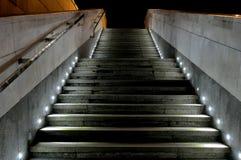 Outdoor staircase spotlights illuminated at night Stock Photos