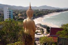 Outdoor standing Buddha on Kho Tao temple near Khao Tao beach,Th Stock Photo
