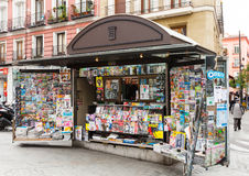 Outdoor stands with newspapers and magazines at street stock photo