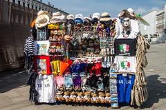 Outdoor stands selling souvenirs in Venice. Stock Photography