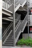 Outdoor steel and concrete stairs of parking garage stock photos