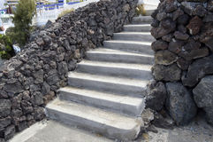 Outdoor steps with volcanic rock walls. In Torviscas a coastal town in Costa Adeje Tenerife Royalty Free Stock Images