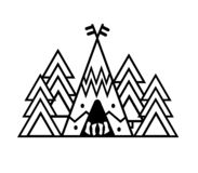 Outdoor sticker wigwam, trees. Camp in a pine forest. Emblem for t-shirts, posters, prints. Vector illustration of wall. Outdoor sticker wigwam and spruce trees royalty free illustration