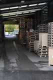 Outdoor storage facility. Storage facility outside with lots of crates Stock Photos