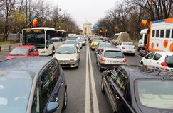 Cars in heavy traffic, in Bucharest, Romania. Royalty Free Stock Images