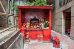 Outdoor street shrine in Wanchai, Hong Kong Island Royalty Free Stock Photography