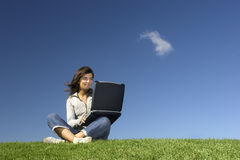 Outdoor study. Woman in outdoor study with a laptop Stock Photos