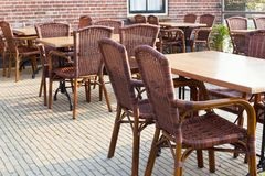 Outdoor summer cafe tables Stock Image