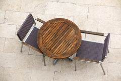 Outdoor summer cafe tables with chairs Stock Image