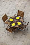 Outdoor summer cafe tables with chairs Royalty Free Stock Photo