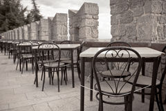 Outdoor summer cafe tables Stock Photography
