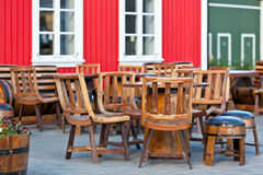 Outdoor summer cafe tables in viking style at Iceland town Stock Photos