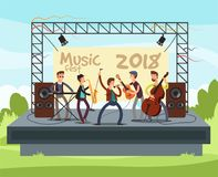 Outdoor summer festival concert with pop music band playing music outdoor on stage vector illustration. Performance musician with instrument, play musical vector illustration